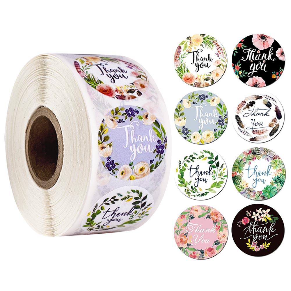 500pcs/ Roll 1 Inch  Thank You 8 Kinds Offloral Stickers Seal Labelswedding Envelope Stationery Baked  Decorative Stickers