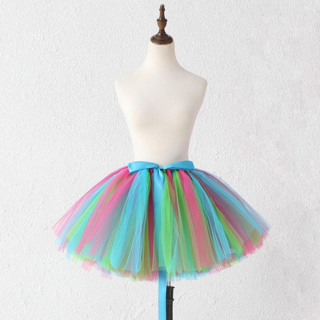Foreign Trade Adult Tutu Halloween Mesh Skirt Birthday Party Rainbow Skirt Parent-child Dance Skirt