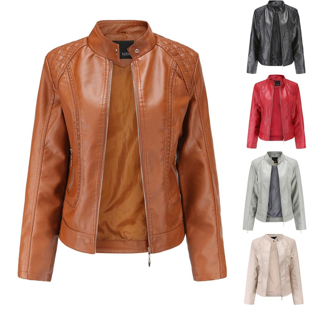 BELIAY Mens Vintage PU Leather Jacket Winter Padded Warm Standing Collar Windproof Motorcycle Tops Multi Big Pocket Coats