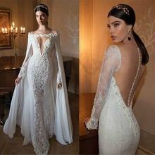 Свадебное платье Русалка с открытой спиной v образным вырезом