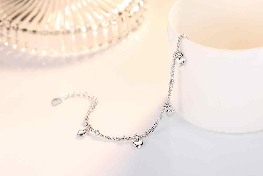 925 Pulseiras de Prata Sterling Para As Mulheres Cinco Sorte Presente de Casamento Amor Do Encanto Do Coração Pulseira Cadeia pulseira de Prata Fine Jewelry
