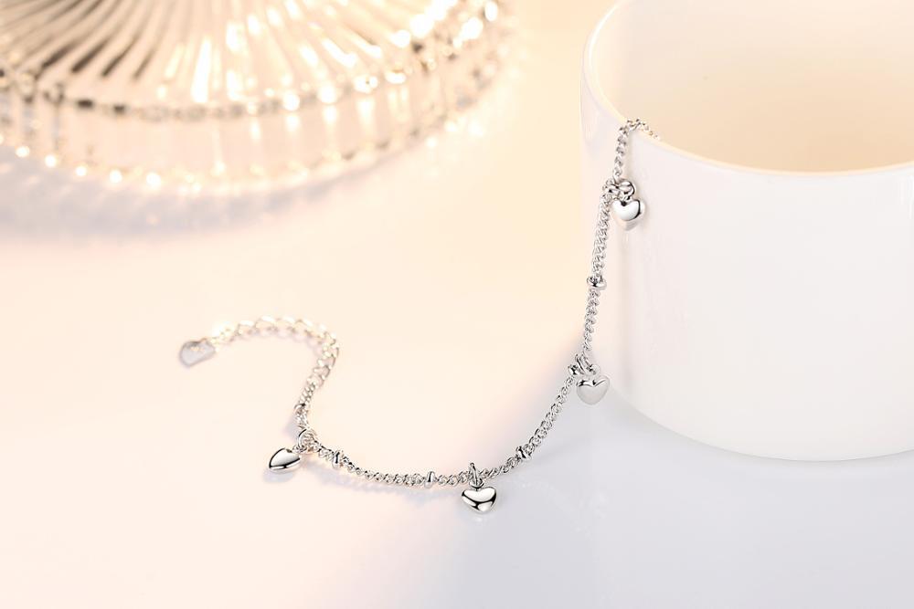 925 Sterling Silver Bracelets For Women Five Love Heart Charm Silver Chain Bracelet pulseira Gift Wedding Lucky Fine Jewelry