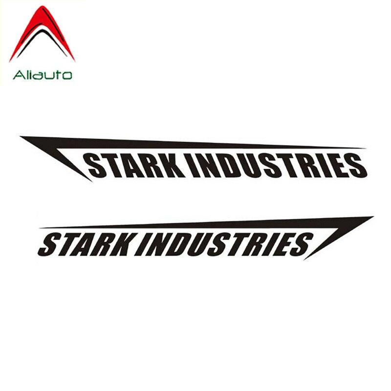 Aliauto Personality Creative Car Stickers Stark Industries Iron Man Decoration Sunscreen Anti-UV Decal PVC Black/Silver,8cm*58cm