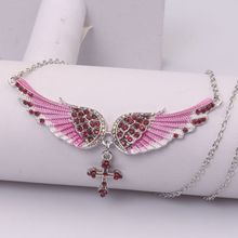 FXM fashion Pink Angel Wings Pendant Stainless Steel Necklace Creative Rhinestone Neck Chain Clavicle
