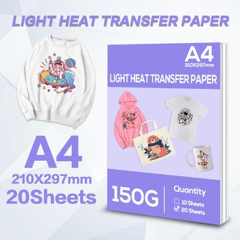 20 arkuszy A4 papier termiczny dla światła kolorowa tkanina tkanina bawełniana koszulka do drukarek atramentowych drukowany Design do drukarek atramentowych 210*297mm tanie i dobre opinie CN (pochodzenie) heat transfer paper for light color clothes A4 ( 210mm X 297mm) Single-sided Dye Ink All Inkjet Printer
