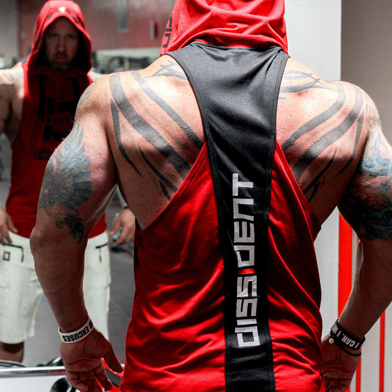 Summer Bodybuilding Tank Top with hooded Mens Gyms Clothing Fitness Mens Sleeveless Vests Cotton Singlets Muscle Sports vest