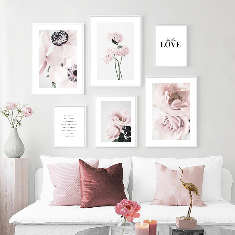 Toile avec fleurs roses, décoration nordique, affiche murale