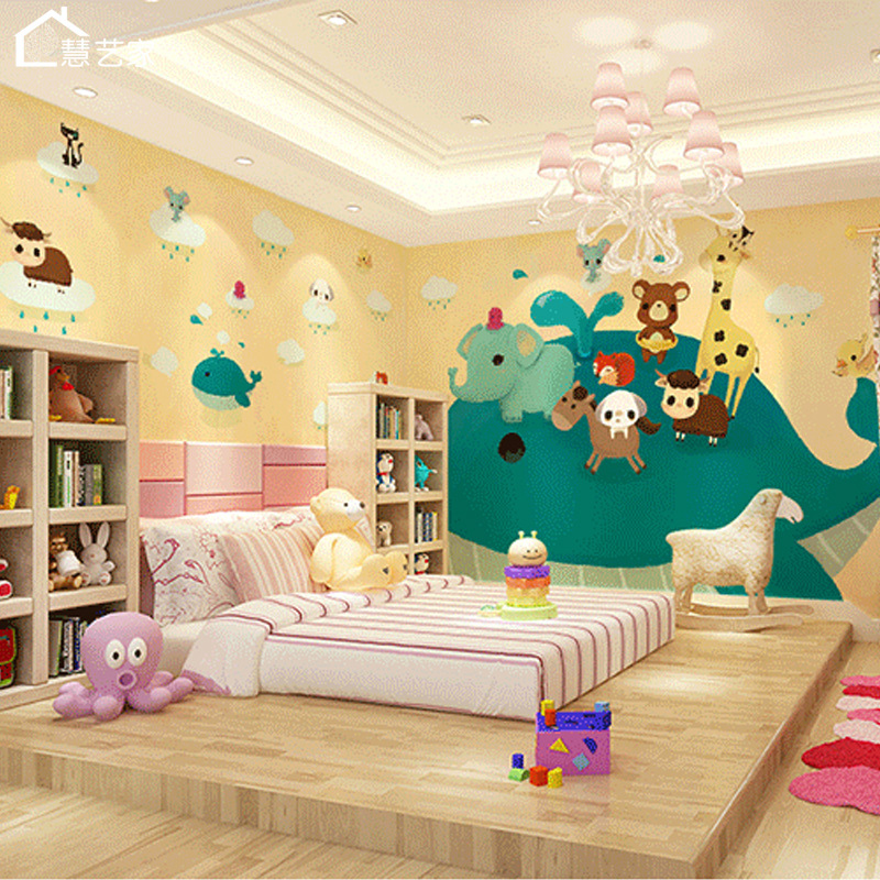 Customizable CHILDREN'S Room Wallpaper Minimalist Modern Cartoon Waterproof Wallpaper Bedroom Kindergarten Early Childhood Anima