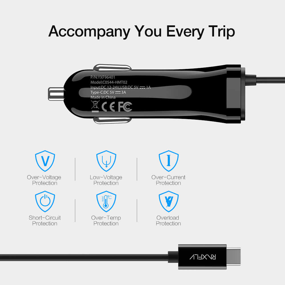 RAXFLY 5 فولت 3A USB سيارة شاحن الهاتف سيارة-شاحن سامسونج هواوي سريع تهمة شاحن سريع USB نوع C لسامسونج Redmi نوت 7