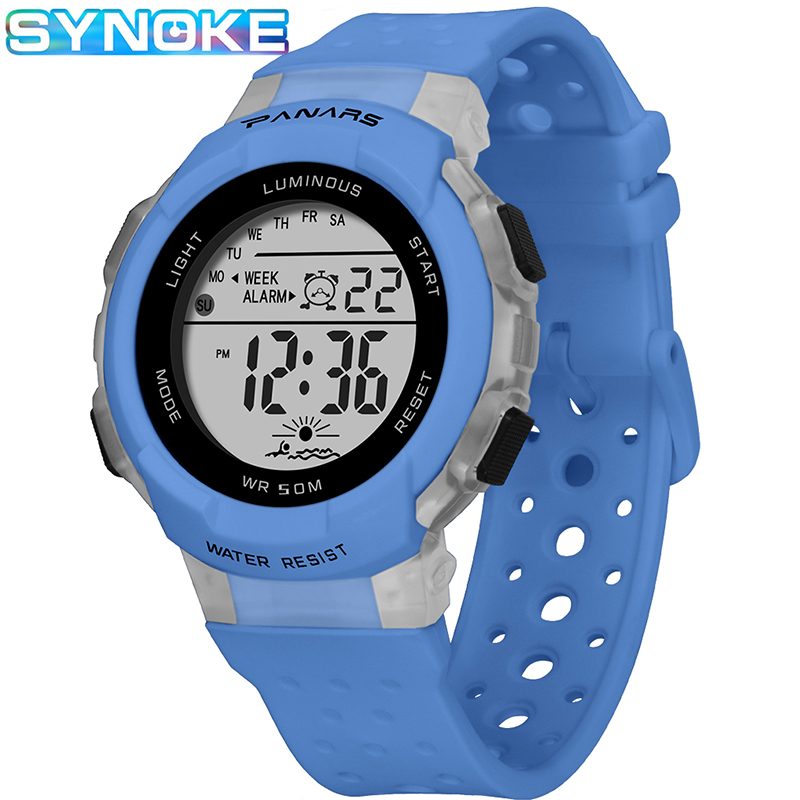 SYNOKE Sports Children Digital Watches Fashion Waterproof Colorful Luminous Date Week Display Wrist Watch Students Watches