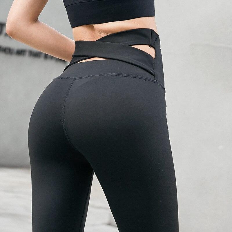 NORMOV Solid Women Leggings Workout High Waist Push Up Behind Cross Belt Spandex Jeggings Casual Femme Leggings