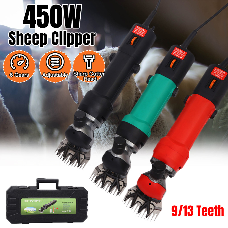 450W 220V 6 Gears Speed Electric Sheep Goat Shearing Machine Clipper Farm Shears Cutter Wool Scissor Cut Machine With Box