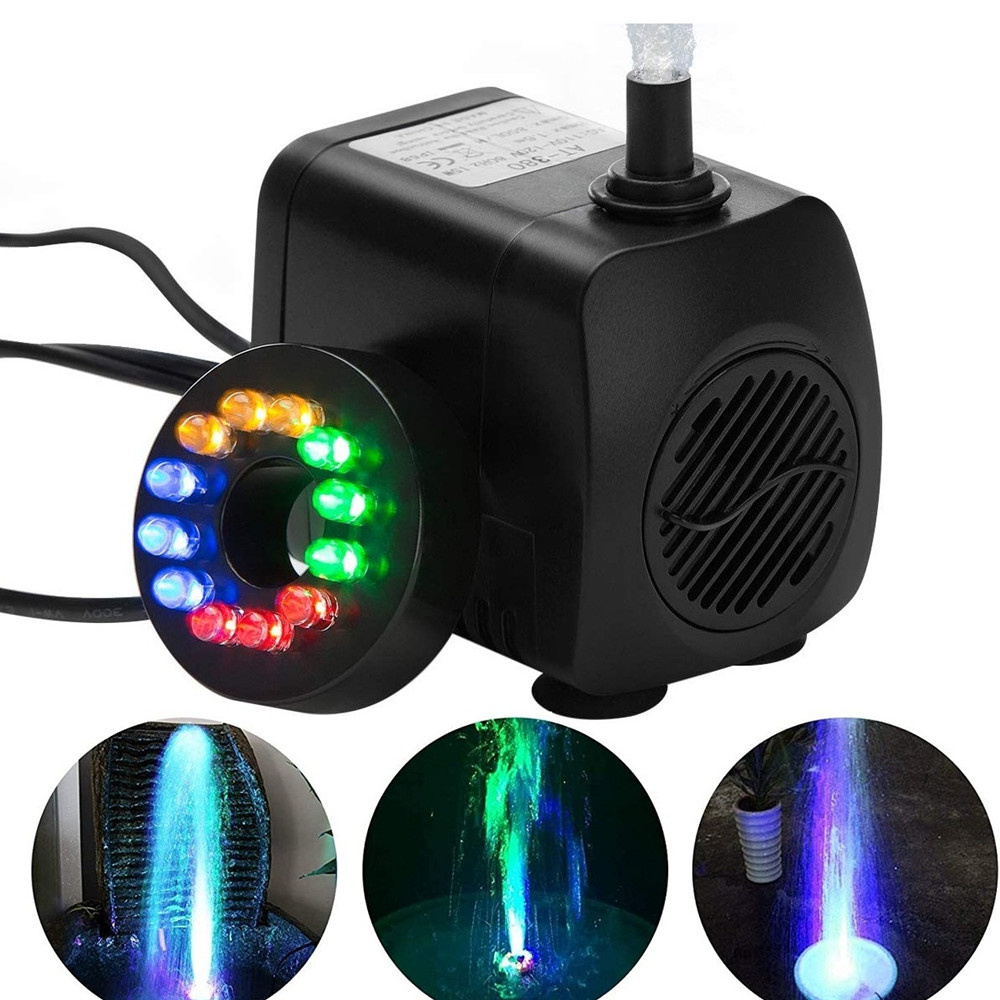15W LED Water Pump Fountain Submersible Water Pump Aquarium For Fish Tank Garden Pond Outdoor Fountain Pump Decor With 12 Lights