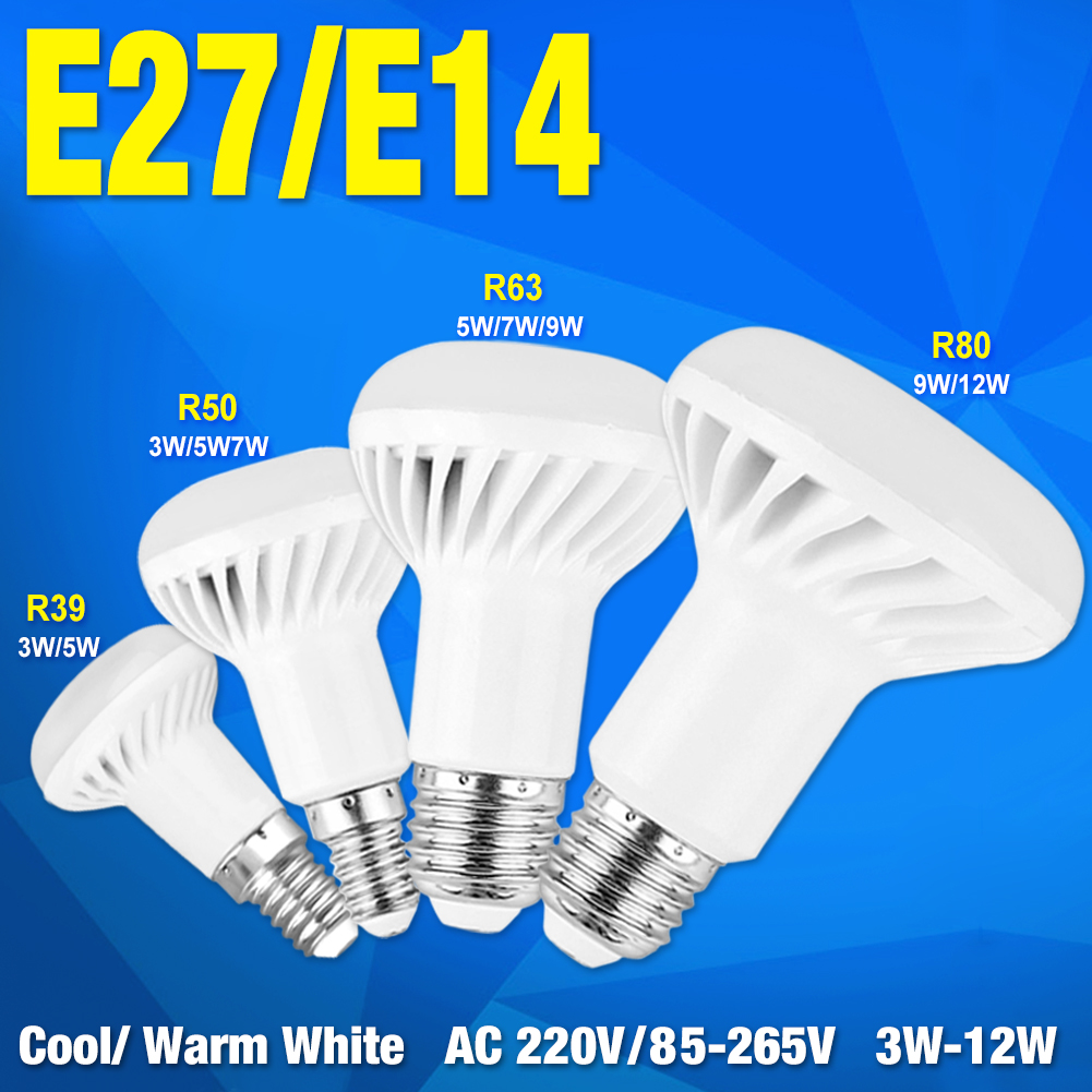 R39 R50 R63 R80 Dimmable LED Bombillas lamp Spotlight led light Energy 220V 85-265V E14 E27 Base LED BULB 3W 5W 7W 9W 12W bulb