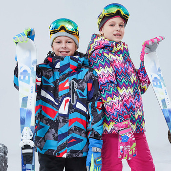 2020 New Children Skiing Jacket Boy Girl Skiing Clothes Children Cotton-padded Jacket Kids Outdoors Waterproof Hooded Coat