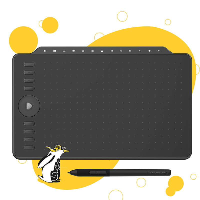 GAOMON M1220 12 Inch Redail and Tilt Support Graphic Drawing Tablet 8192 Battery-Free Pen 8 Express Keys + 13 Multimedia Keys