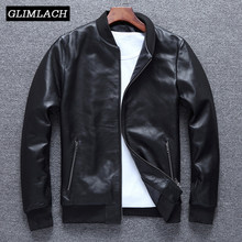 Large Size 4XL Cowhide Slim Aviation Genuine Leather Bomber Jacket Men Real Cow Leather Flights Jacket Black Aviator Pilot Coat(China)