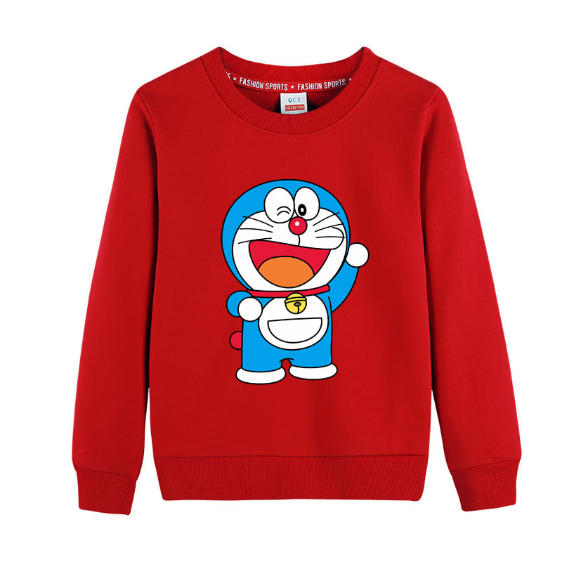 2020 crianças outono hoodies da criança meninos meninas doraemon dos desenhos animados camisolas crianças outwear manga longa topos 100% algodão