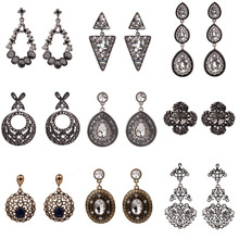 Korean Luxury Austrian Crystal Earrings for Women Wedding Statement Dangle Drop Earring Vintage Gothic Fashion Jewelry 2020