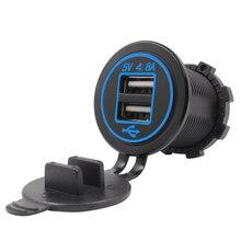 DIY 4.8A 듀얼 USB 충전기 소켓 방수 전원 콘센트 아이폰에 대 한 듀얼 USB 빠른 충전 어댑터 스마트 폰 자동차 보트 마린 RV