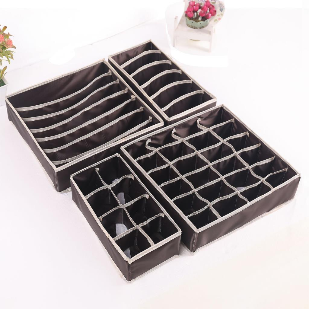 Underwear Divider Socks Storage-Boxes Ties Bras Closet Drawer 4pcs by for Lidded title=