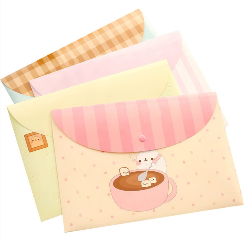 Cartoon Briefcase A4 File Bag Student Floral Transparent Folder Snap Pvc File Bag Office Supplies Information Bag Package