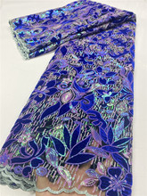 NI.AI African Velvet Lace Fabric With Sequin Lace Nigerian George Wrapper High Quality African George Fabric Y3667B