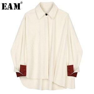 [Eam] feminino bege listrado dividir tamanho grande blusa nova lapela manga longa solto ajuste camisa moda maré primavera outono 2020 1b449