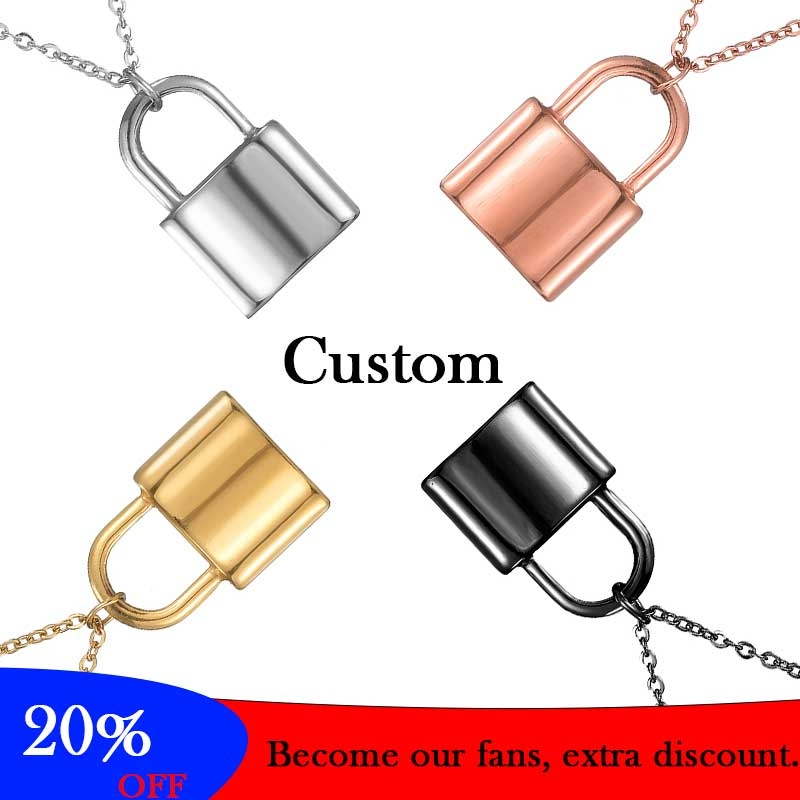 Customized Name Padlock Necklace Men Stainless Steel Chain Choker Lock Pendant Couple Jewelry For Women Wife Gift