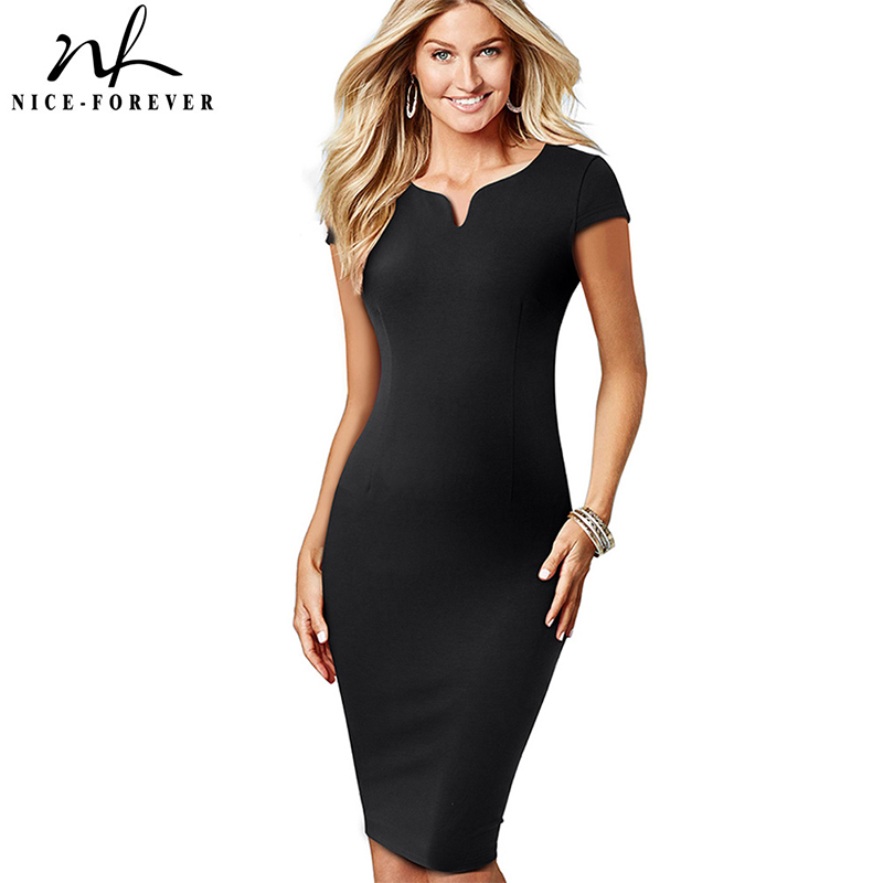 Nice-forever Vintage Elegant Solid Color V-neck Sheath Vestidos Work Business Office Bodycon Women Female Formal Dress B508