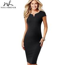 Nice forever elegante vestido Vintage de Color sólido, funda con cuello en V, trabajo, oficina, Bodycon, mujer, Formal, B508