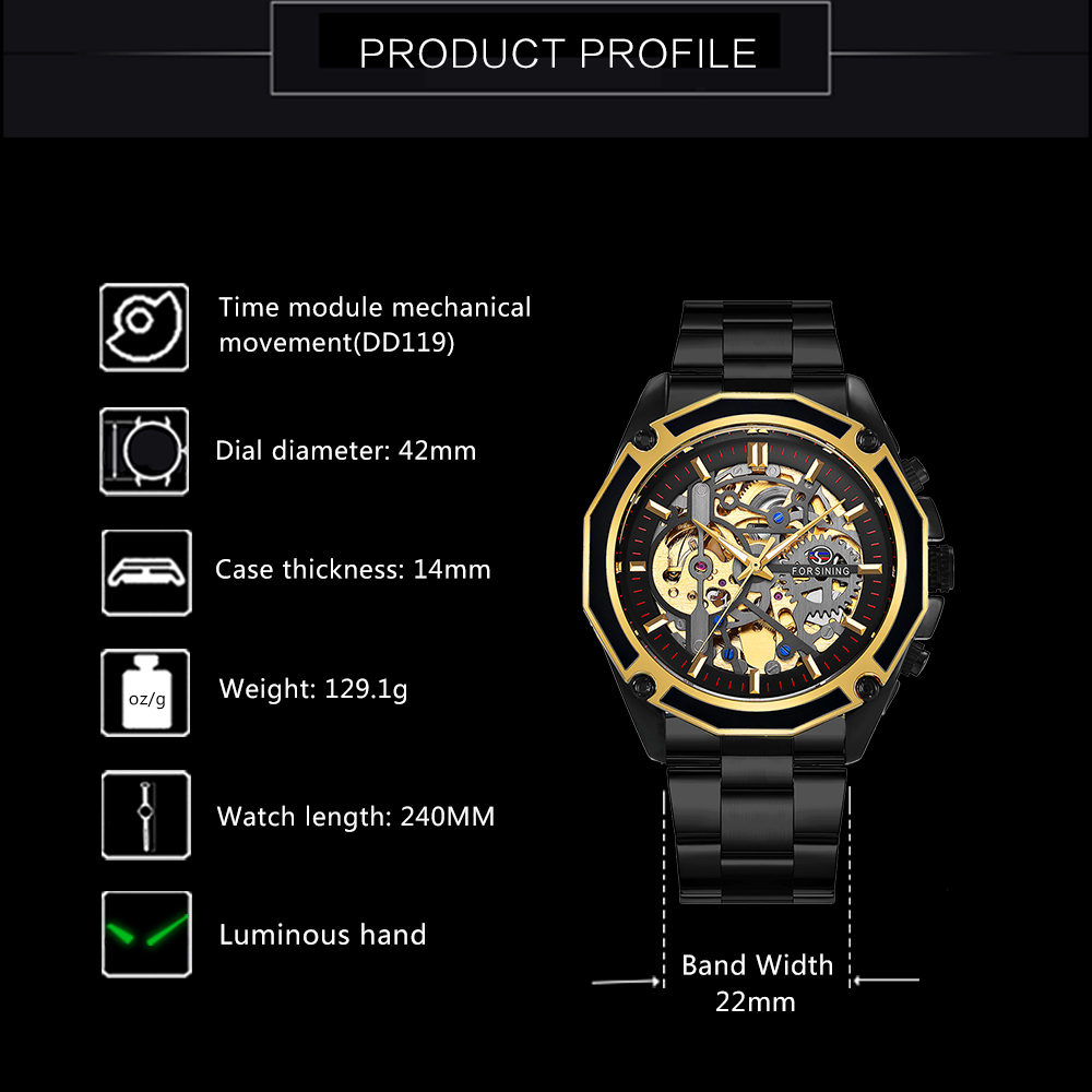 FORSINING Golden Top Brand Luxury Auto Mechanical Watch Men Stainless Steel Strap Skeleton Dial Fashion Business Wristwatches 3