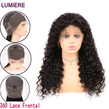 Lumiere Hair 360 Lace Frontal Wig Pre Plucked With Baby Hair Malaysian Deep Wave Wig Non-Remy 100% Human Hair Wigs For Woman 1B(China)