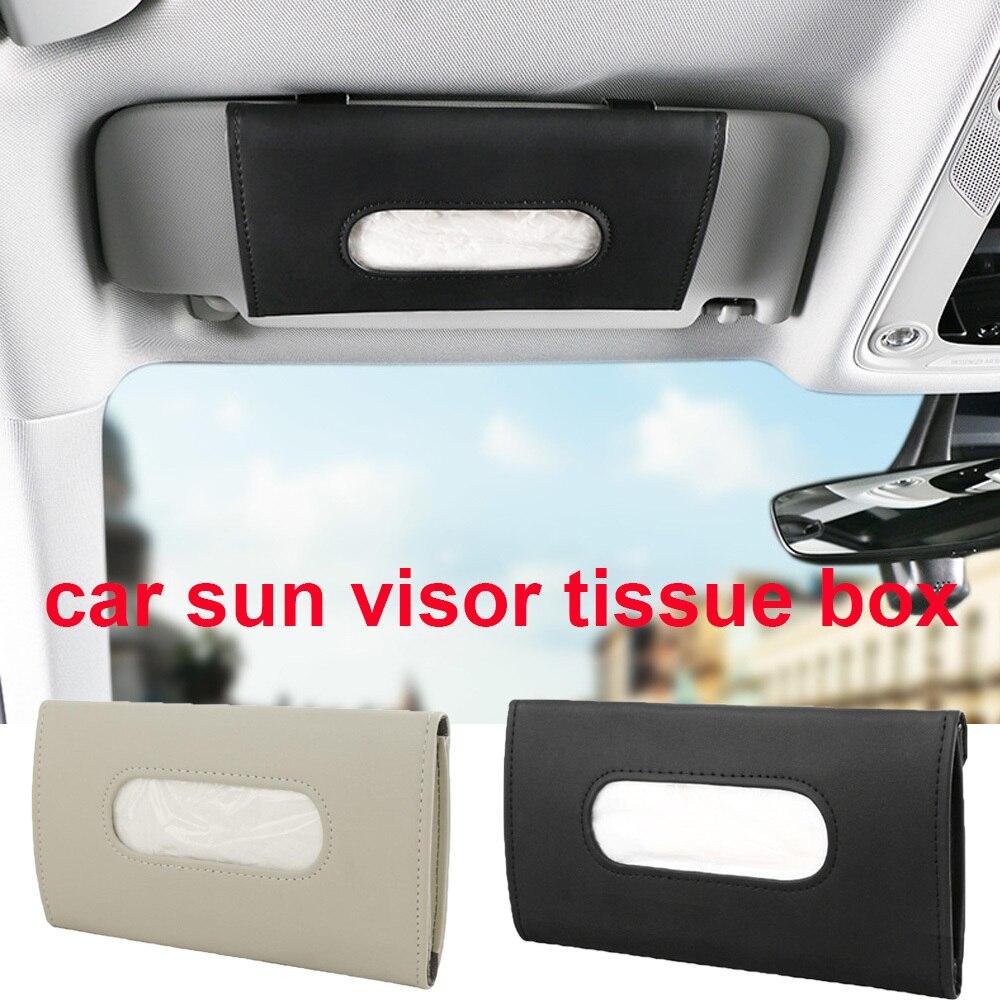 Couro do plutônio caixa de tecido do carro viseira sol caixas de tecido caixa do carro suporte de tecido para bmw honda audi benz buick vw skoda mazda ford