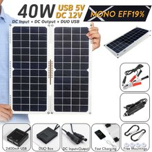 LEORY Portable Solar Cells 40W 14V Dual Output Solar Panel with Car Charger 10/20/30A USB Solar Charger(China)