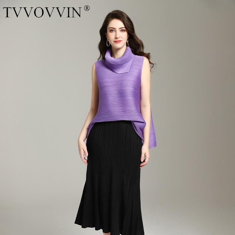 TVVOVVIN mode sans manches t-shirts femmes couleur unie sauvage décontracté dames t-shirts été nouveau 2019 femmes vêtements C862