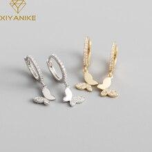 XIYANIKE 925 Sterling Silver Butterfly Rhinestones Zircon Hoop Earrings Female Charm Fashion Temperament Light Luxury Jewelry