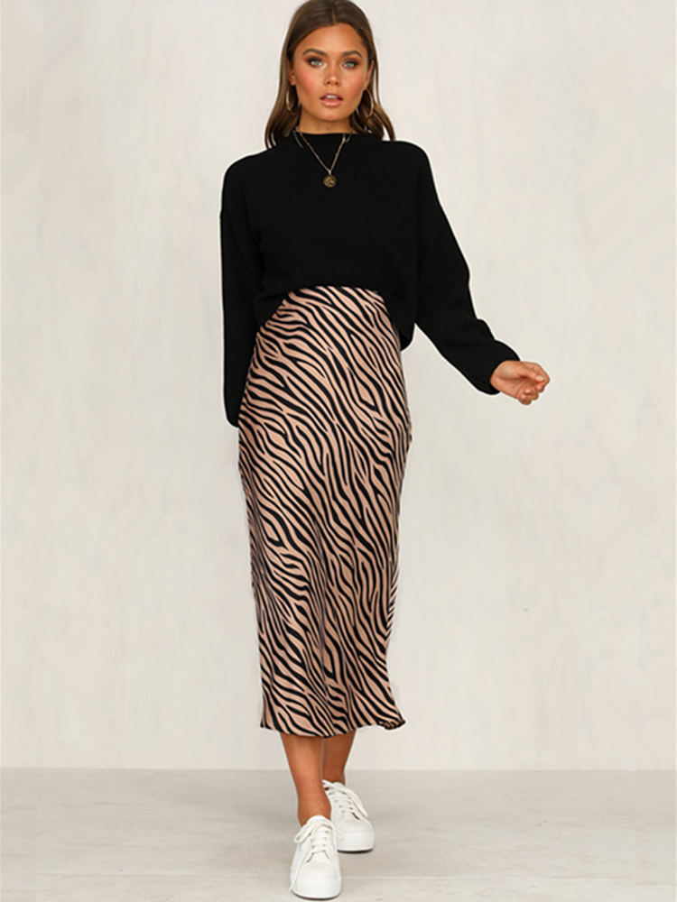 Midi Skirt Night-Club Animal-Print Beavant Zebra Stripe Straight High-Waist Women Party