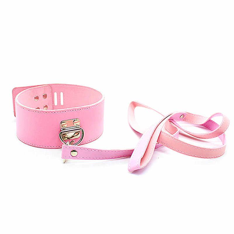 Candiway 핑크 시리즈 프리미엄 가죽 bdsm 속박 구속 고문 도구 커플을위한 성인 침실 섹스 제품