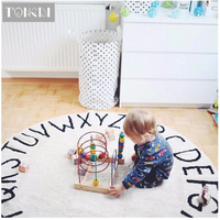 TONGDI Children Round Carpet Mat Soft Printing Suede Plush Cartoon Number Anti slip Rug Luxury Decor For Home LivingRoom Bedroom