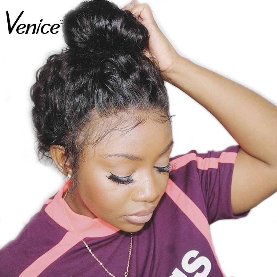 Venice Brazilian Lace Front Human Hair Wigs With Baby Hair Pre Plucked Glueless 13x4 Lace Front Wig Bleached Knots Remy