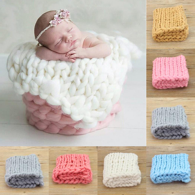 Newborn Photography Props Woven Square Carpet Handmade Baby Photography Props Wrap Wool Accessories For Baby Photo Blankets