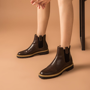 Image 4 - BeauToday Ankle Boots Women Calfskin Leather Chelsea Boots Mixed Colors Elastic Winter Ladies Shoes Thick Sole Handmade 03626