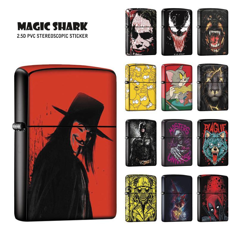 Magic Shark Skull Wolf Lion Joker Venom Star War Stereo Cool Vendetta Sticker Case Cover Film For Zippo Lighter