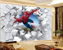 цена на 3d Wallpaper Spiderman Through the Wall Illustration Living Room Bedroom Background Wall Decoration Mural Wall Paper