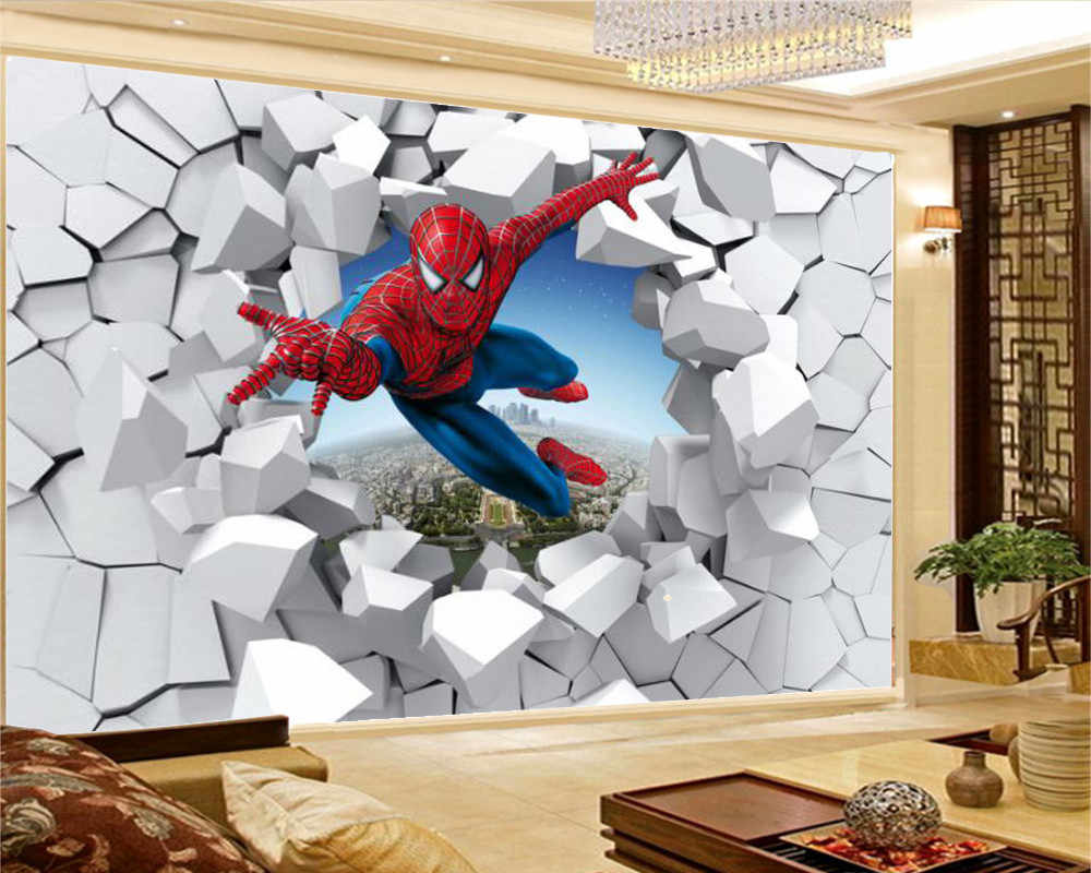 Décoration Murale En Relief 3d wallpaper spiderman through the wall illustration living