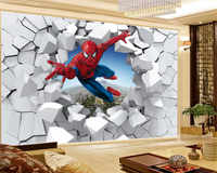 3d Wallpaper Spiderman Through the Wall Illustration Living Room Bedroom Background Wall Decoration Mural Wall Paper