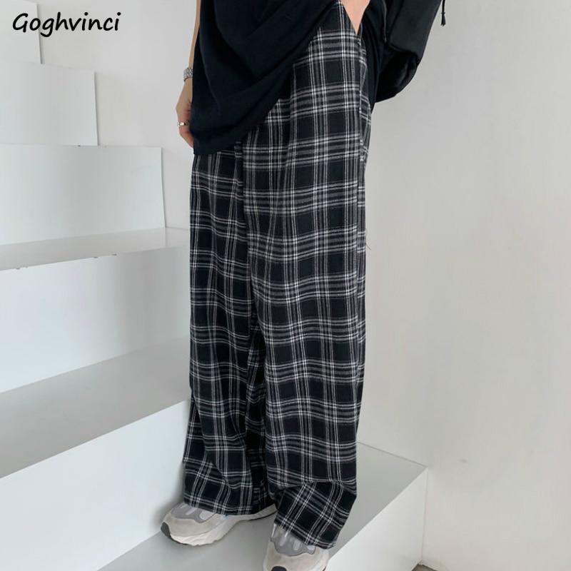 Plaid Hosen Frauen Casual Chic Oversize 3XL Lose Breite Bein Hosen Ins Retro Jugendliche Harajuku Hip-hop Alle-spiel Unisex Streetwear