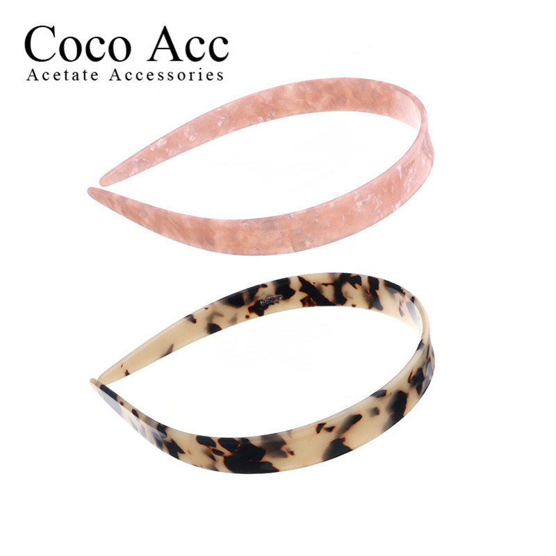 Wholesale Cellulose Acetate Acrylic Tortoise Shell Simple Design Hair Hoop Hairbands With Teeth For Women Girls