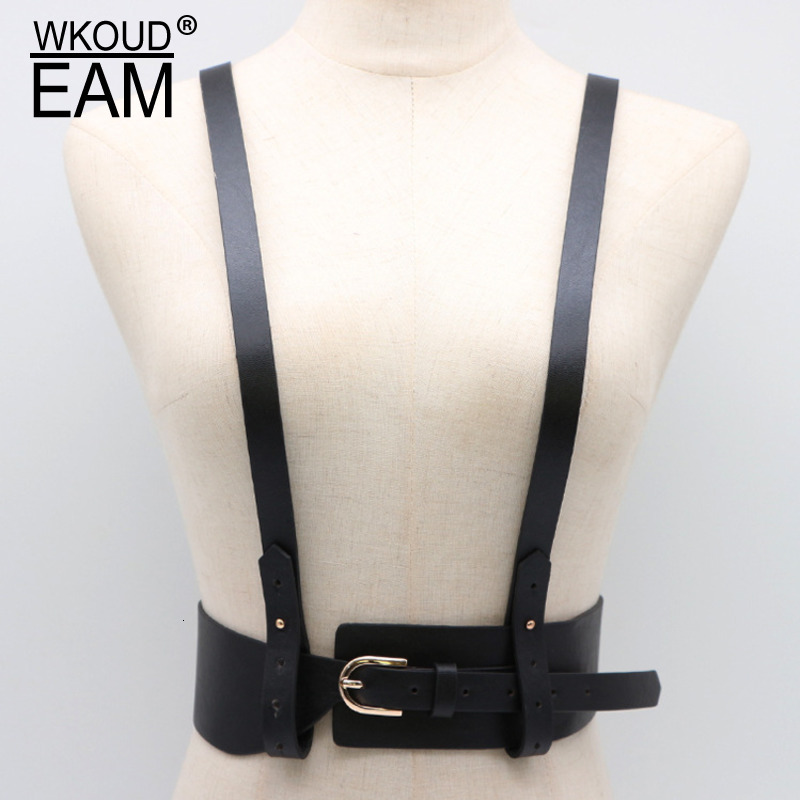 WKOUD EAM 2020 New Fashion Wid Belt For Women Solid Leather Detachable Strap High Street Casual Waist Trendy Belt Female A102